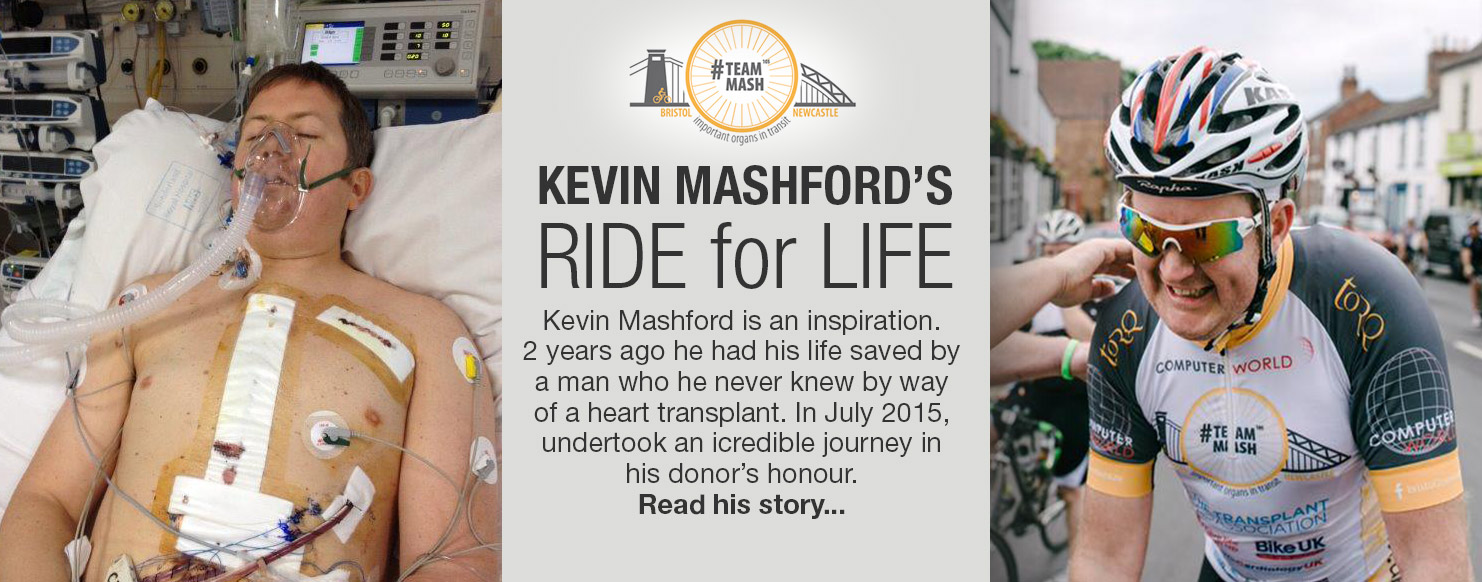 Kevin Mashford.  342 mile charity cycle ride for The Transplant Association