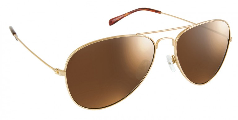 Gold Aviator frames with brown lenses