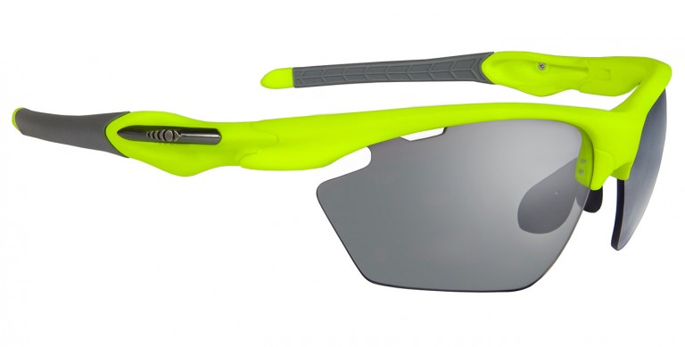 Fluorescent green Max frames with photochromic lenses and prescription insert