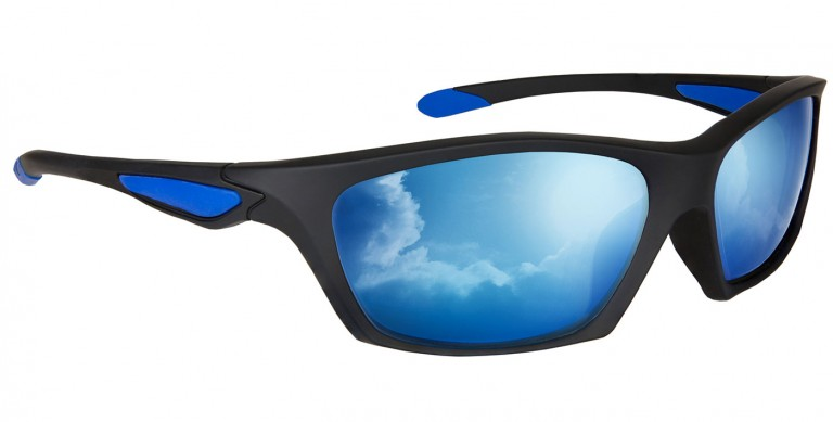 Black Rascal frames with blue mirror lenses