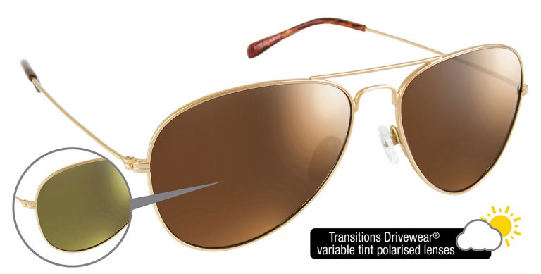 Gold Aviator frames with Transitions Drivewear® lenses