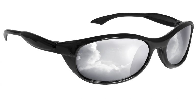Black Explorer frames with silver polarised mirror lenses